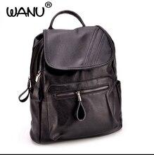 Wanu Для женщин рюкзак Винтаж Рюкзаки для подростков модная одежда для девочек большой Школьные сумки Высокое качество кожа черный сумка дорожная сумка