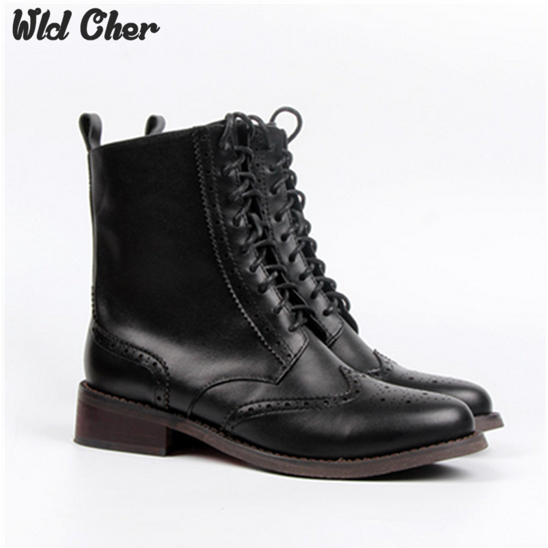 2017 Classic Women Vintage Martin Boots Leather Oxford Shoes Woman Waterproof Platform Thick High Heels Botas Zapatos Mujer 43 2016 new arrivals free shipping full grain leather round martin vintage thick boots women shoes