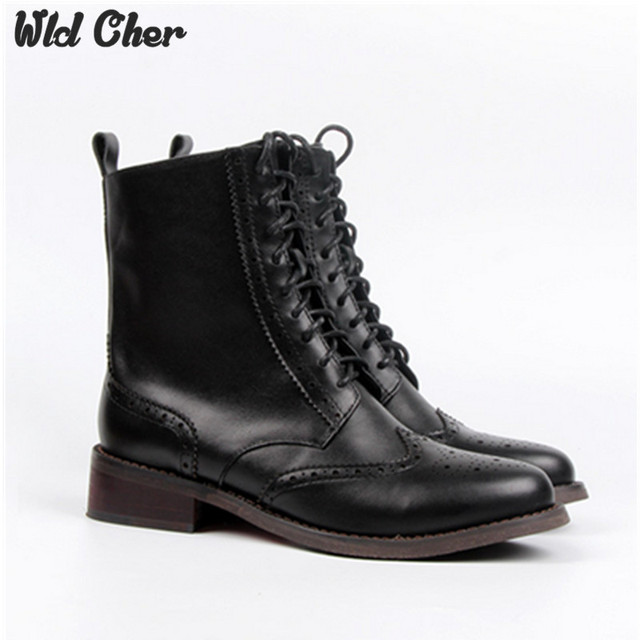 2017 Classic Women Vintage Martin Boots Leather Oxford Shoes Woman Waterproof Platform Thick High Heels Botas Zapatos Mujer 43