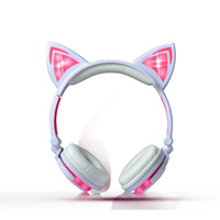 2017 Cat Ear Headphones LED Ear Headphone Cat Earphone Flashing Glowing Headset Gaming Earphones For Adult