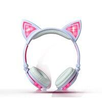 2018 Cat Ear Headphones LED Ear Headphone Cat Earphone Flashing Glowing Headset Gaming Earphones For Adult