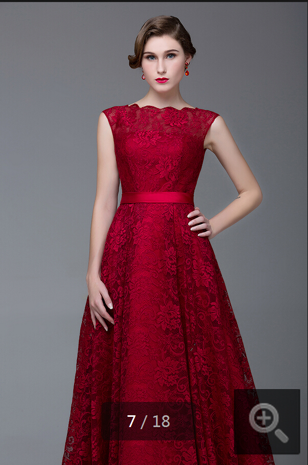 2015 mode rød tæppe scoop halsudskæring vinblonder aftenkjole - Særlige occasion kjoler - Foto 5