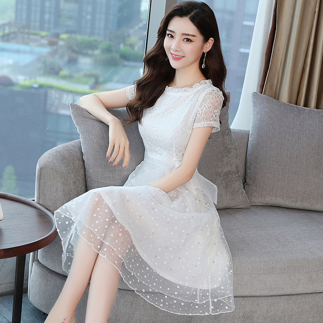 51c0aee57c Aliexpress.com : Buy Elegant korean fashion bead chiffon mesh White Lace  Dress designer dresses runway 2018 high quality nightclub party dress from  ...