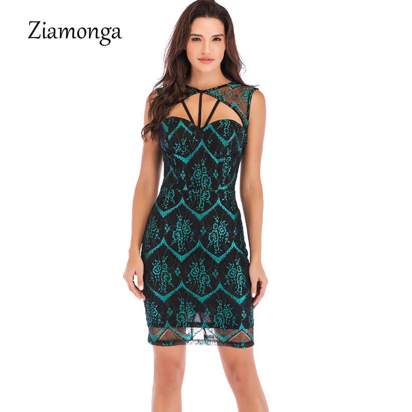 ecfa4128be Ziamonga New Vintage Hollow Out Floral Lace Bandage Dress Women Elegant  Sleeveless Summer Chic Party Sexy Dress Vestidos Robe