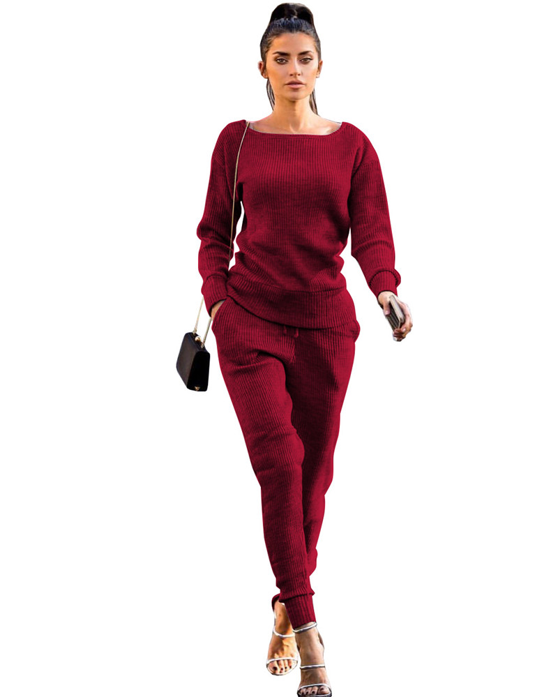 0389e1f34b 2017 Autumn Winter Women s Loungewear Tracksuit Two Piece Sets Long Sleeve  Casual Ribbed Sweatshirt + Pant Sweat Suits for Women