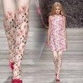 T calidad de la manera 16 medias de color rosa de moda personalizada elegante peach blossom imprimir pantyhose femenino