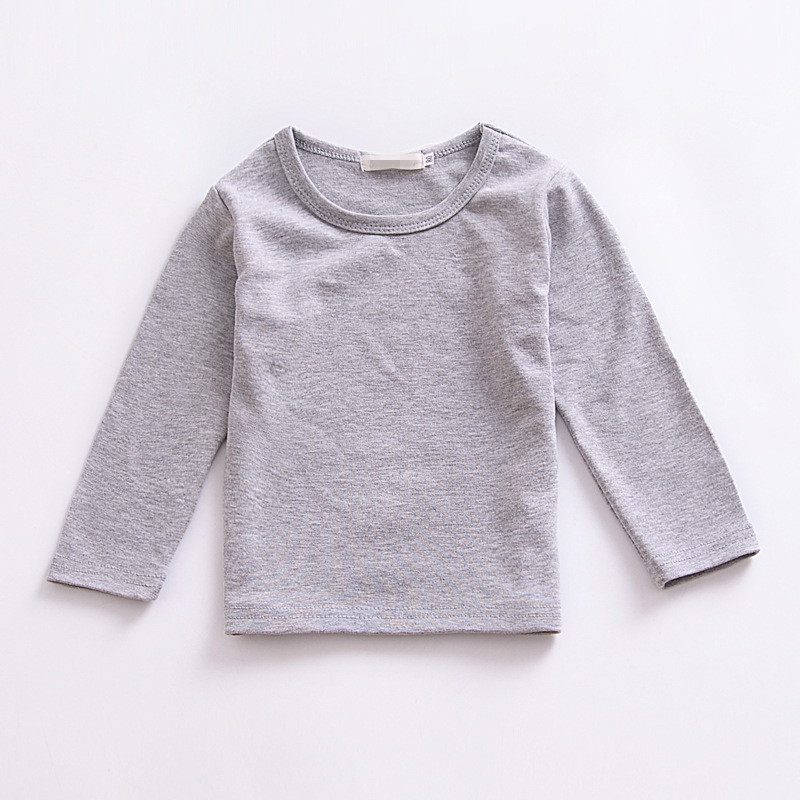 2018 Gray Girls Tops Little Girl Clothes Long Sleeve Top Girls Long Sleeve Tshirts Kids T Shirt Kids Clothes Spring Autumn