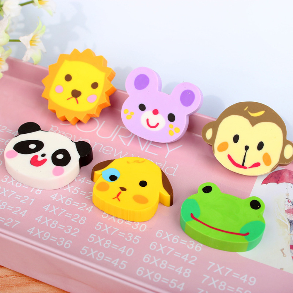 6 Pcs Cute Mini Animal Rubber Pencil Eraser Set Stationery Kids Children Gifts Pencil Correction Art School Dropshipping /c