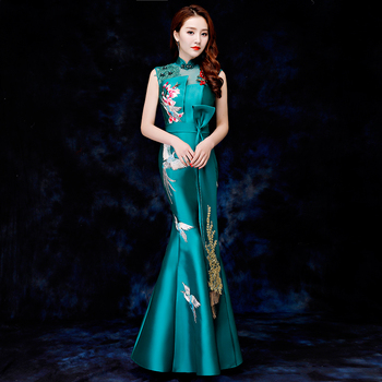 Embroidery Flower&birds Asymmetrical Strapless Women Chinese Dress With Big Ribbon Appliques Golden Tassel Evening Party Gown