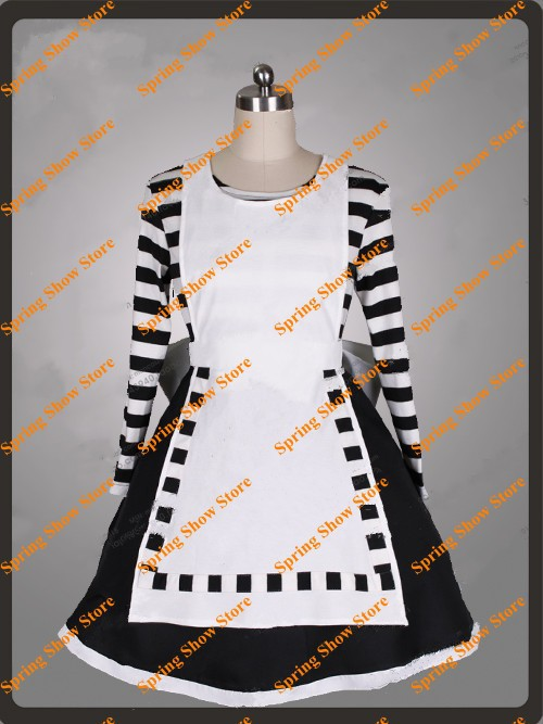 Alice Madness Returns Heroine Alice Cosplay Costume Black White Striped Customized Anime Uniform alice madness returns heroine alice cosplay costume black white striped customized anime uniform