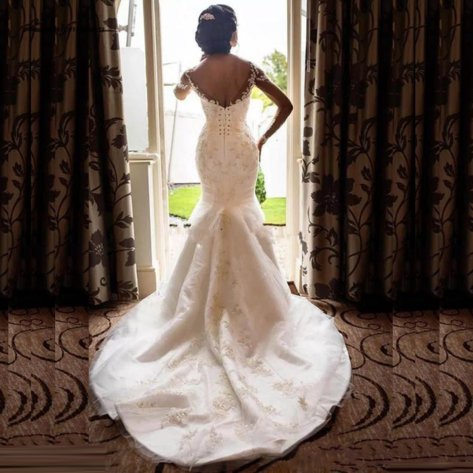Lakshmigown Elegant Arabic Women Mermaid Wedding Dresses 2019 African Long Sleeve Wedding Gowns Vintage Lace Beaded Bridal Dress