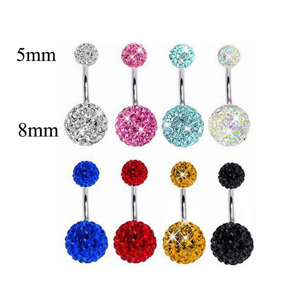 Buik Bar Knop Ringen Multi Crystal Piercing Gem Navel Chirurgisch Staal Body Stuk Sieraden Punk Hip Hop Trendy Navel Piercing