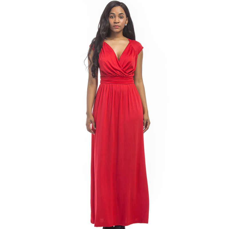 a79ce88f19a88 Short sleeve women plus size dress for fat pleated maxi drees v-neck AUTUMN  High Waist evening party big size female tunic dress