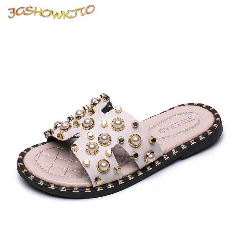 Girls Summer Sandals With Pearl Rhinestone Fashion Sweet Princess Big Kids Beach Slides Family Matching Slippers Hot Sale 26-39