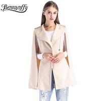 Benuynffy Winter Coat Long Women Elegant Cape Coat Ladies New Arrival Apricot Woolen Zipper Casual Outerwear Women's Coats W501