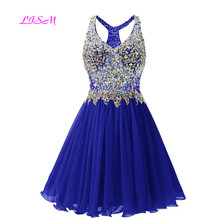 Royal Blue Crystals Mini Homecoming Dresses Beaded Sequins Bodice Short  Prom Dress Chiffon Graduation Gowns vestido. 5 Colors Available ea93142f73a1