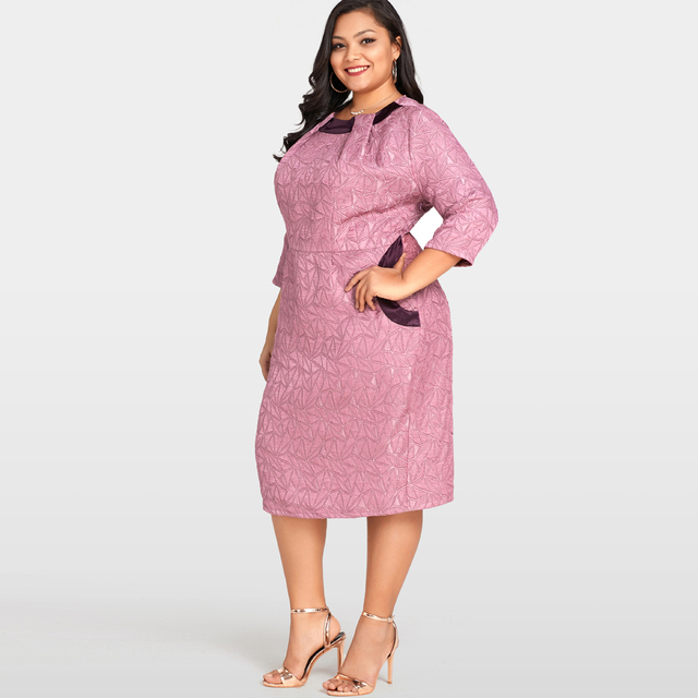 e84e0036b1f Women Sexy Plus Size Dress Solid Geometry Elegant Slim Midi Dress Office  Ladies Oversized Bodycon Dress