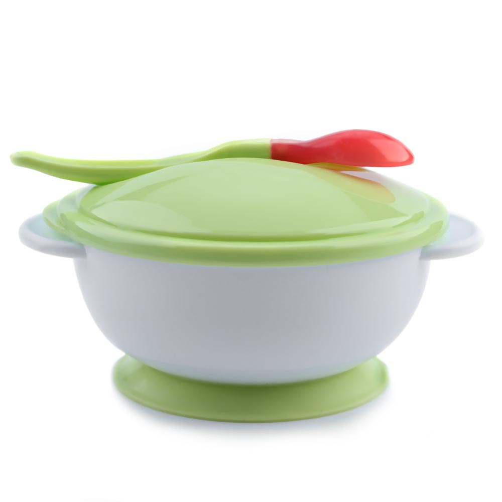 Suction Bowl Lid Scoop Anti slip Design Baby Sucker Bowl Spoon Set Toddler Baby Feeding Eating Food Non slip Two handed Sucker