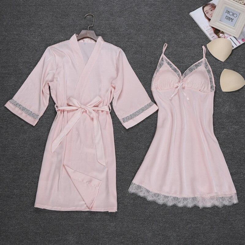 2 Pieces Pajamas Sets Fashion Women's Sexy Lace Emulation Silk Spaghetti Strap Sleep Lounge Nightwear Female Sleepwear Sets