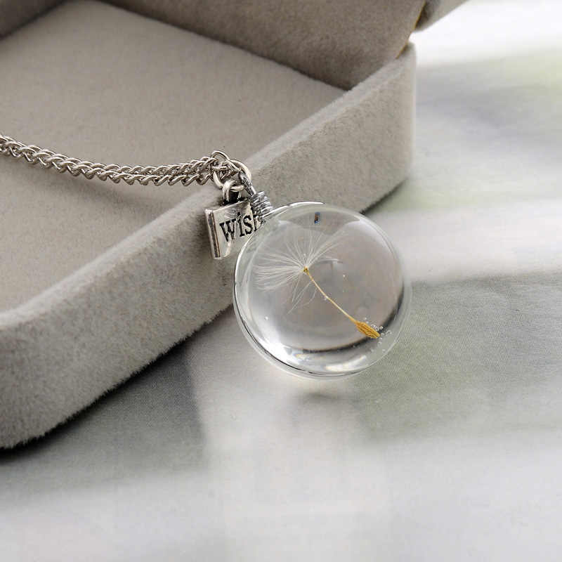 2019 Fashion Necklaces Wish Real Dandelion Crystal Necklace Glass Round Pendants Necklace Silver Chain Choker Necklace For Women