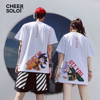 CheerSolo Anime Couple T Shirt Women Dragon Ball Print Cartoon Summer Top Japanese Streetwear Tee Shirt Couple Clothes