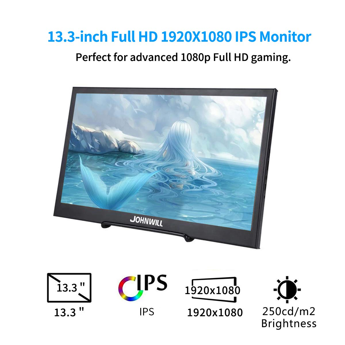 13.3 inch 2560x1440 Portable Monitor pc for PS4 Windows 7 8 10 Full HD LCD 2K HDMI IPS Screen gaming Monitor Ultra Thin Display - 3