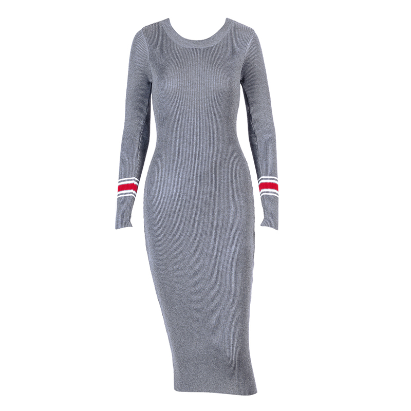 Sexy Party Dress Bodycon Knitted Midi Dress Women Package Hip Long Dress Long Sleeve Striped Sheath Dresses Vestidos WS5359R
