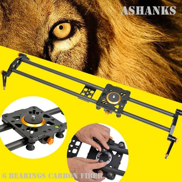 Ashanks 60cm 6 Bearings Carbon Fiber DSLR Camera DV Slider Track Video Stabilizer Rail Track Slider