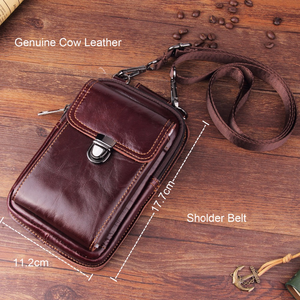 Genuine Leather Pouch Shoulder Belt Mobile Phone Case Bags For Xiaomi Mi 8 Lite,Mi 8 Youth (Mi 8X),Redmi Note 6 Pro,Mi 8 Pro