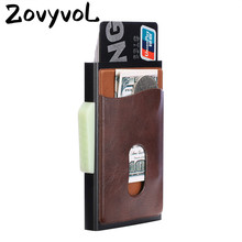 ZOVYVOL Metal Credit Card Holder Automatic Elastic Vintage Aluminum Wallet Antitheft Blocking PU Leather Pass Port