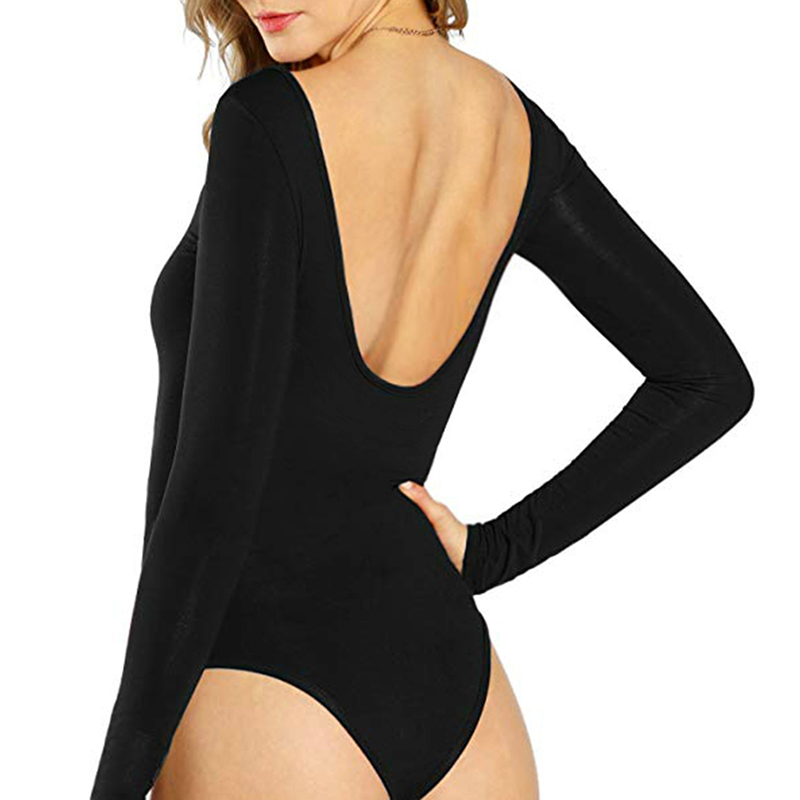 Autumn Winter Bodysuits   Rompers   Solid Sexy Backless Skinny Women   Romper   Long Sleeve Body Top Overalls Club Clothes GV037