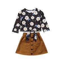 Little Girls Sunflower Clothes Set Fashion Toddler Kid Baby Girl Long Sleeve Flower Top Tutu Skirt 2Pcs Outfit Clothing Set 2019 umi vena sandal toddler little kid