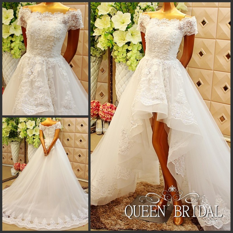 Custom Ball Gown High Low Short Sleeve Tulle Lace Crystal Beading Sexy Wedding Dresses Wedding Gown Vestidos De Novia WS64