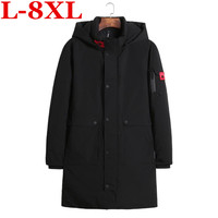new 10XL 9XL plus size Winter Men's Long Coat Exquisite Arm Pocket Men Solid Parka Warm Cuffs Design Breathable Fabric Jacket