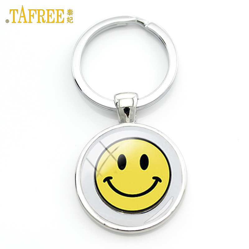 TAFREE Smile symbol keychain charming bright yellow smile sign simple brilliant smiling face happiness key chain jewelry KC186