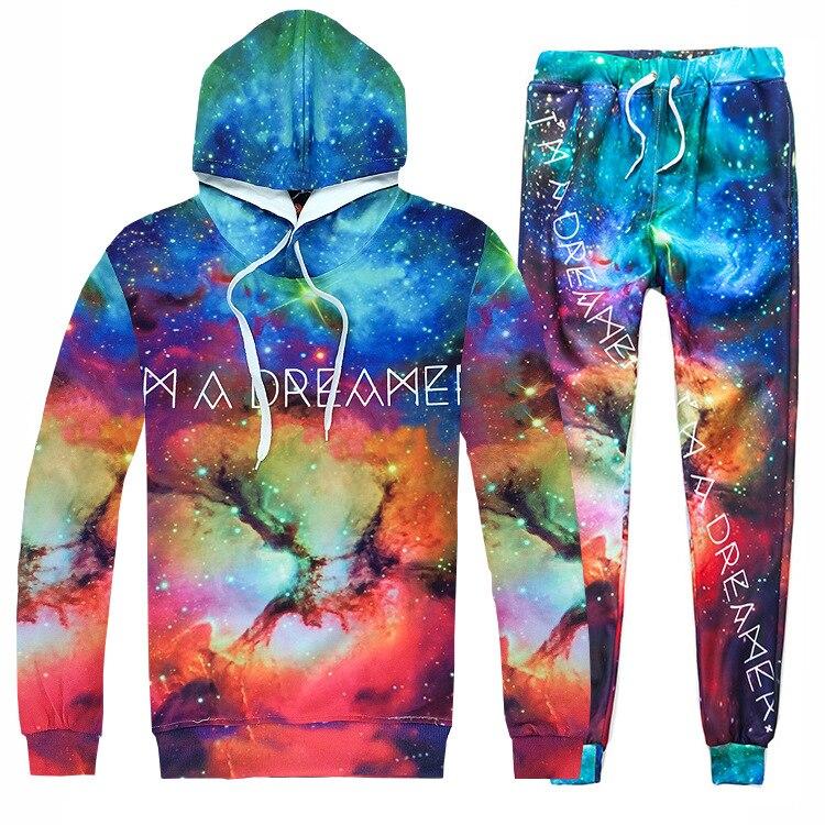 Hommes et femmes 3D imprimé étoiles ciel Hip Hop survêtements à manches longues sweat pantalon 2 pièces ensemble espace Galaxy mode