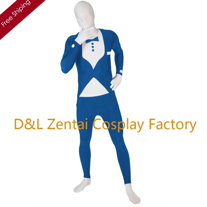 Free Shipping DHL Wholesale Blue&White Genlteman Tuxedo Full Body Lycra Suit For Men SP1839