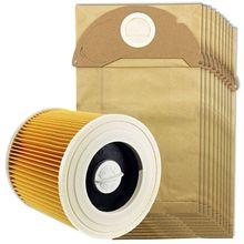 CALDO! Per Karcher Wet & Dry Wd2 Aspirapolvere Filtro E 10x Sacchetti di Polvere