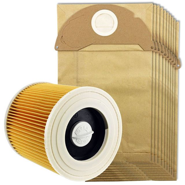 HOT!For Karcher Wet&Dry Wd2 Vacuum Cleaner Filter And 10x Dust Bags
