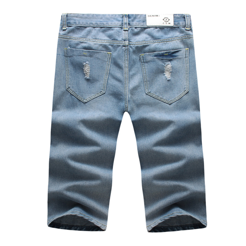 2018 new English alphabet printing Shorts Men Short Jeans Retro Shorts Male Denim Brand Clothing Solid color denim shorts