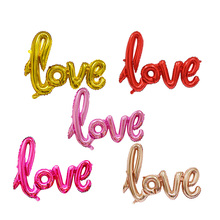 5Pcs1pcs Ligatures LOVE Letter Foil Balloon Anniversary Wedding Valentines Birthday Party Decoration Photo Booth Props