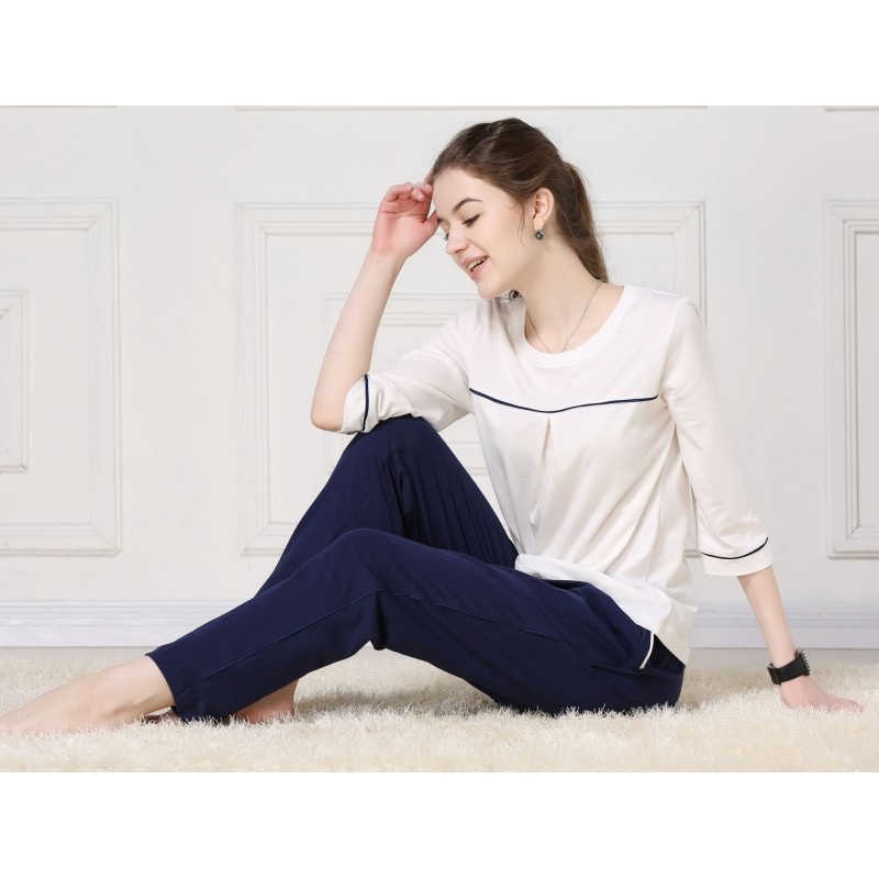 Spring Women   Homewear Female Simple Pajama Sets Women Cotton Sleepwear Suit Ladies Half Sleeve Shirt + Pants