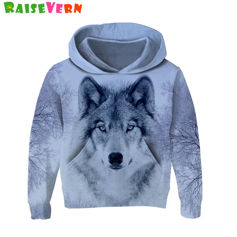 Fashion Kids 3D Hoodies Wolf Print Child Long Sleeve Hooded Autumn Sport Boys Girls Pullover Sweatshirts Children Hoodies Tops leopard flame 3d print pullover hoodie