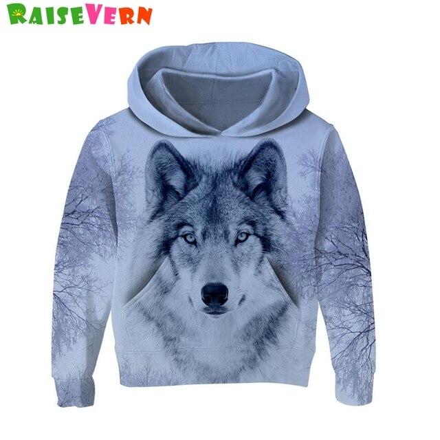 c5054a9235b2 Fashion Kids 3D Hoodies Wolf Print Child Long Sleeve Hooded Autumn ...