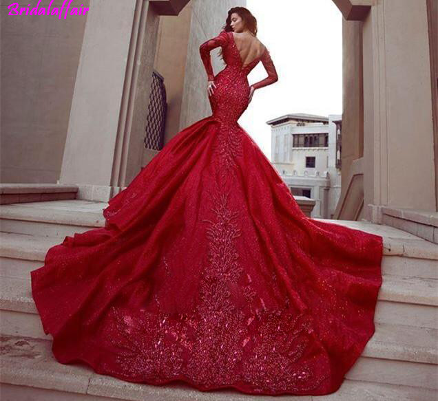 Red V Neck Mermaid Long Sleeves Lace Applique Beaded Evening Dresses Beautiful Cocktail Pageant Gowns Custom Made Prom Dress in Prom Dresses from Weddings Events