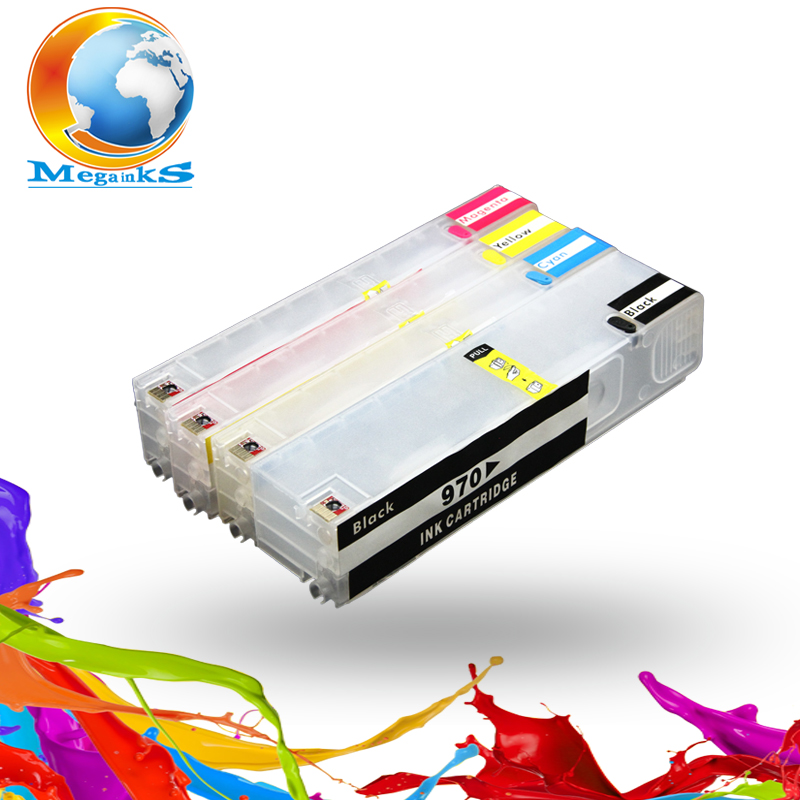Hot sale for HP 970 971 Refillable Ink Cartridge for Officejet Pro X451dn X451dw X476dn X476dw X551dw X576dw with permanent chip for hp 655 refillable ink cartridge for hp deskjet 3525 4615 4625 5525 6520 6525 for hp dey ink bottle 4 color universal 400ml