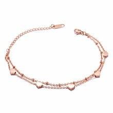 купить Fashion Double layers Heart Charm Bracelet Bangle For Women Stainless Steel Extended Link Chain Bohemia Jewelry Gift дешево
