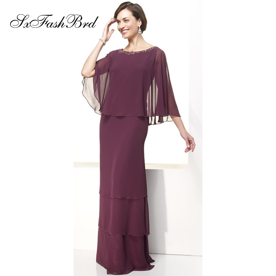O Neck With Beading 3/4 Sleeves Mermaid Floor Length Long Chiffon Wedding Party Dress Mother of the Bride Dresses for Women
