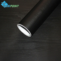 Wood Grain Black DIY Decorative Film Self Adhesive Wall Paper Furniture Renovation Stickers Kitchen Cabinet Waterproof