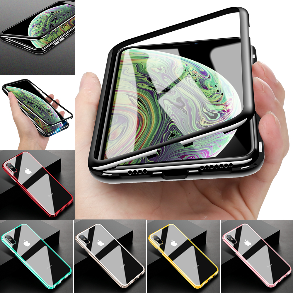 for iPhone X XR XS Max 8 Case Magnetic Adsorption Flip Tempered Glass Hard PC Cover Shell Fantastic Transparent Plating PC&Metal iphone xr case magnetic